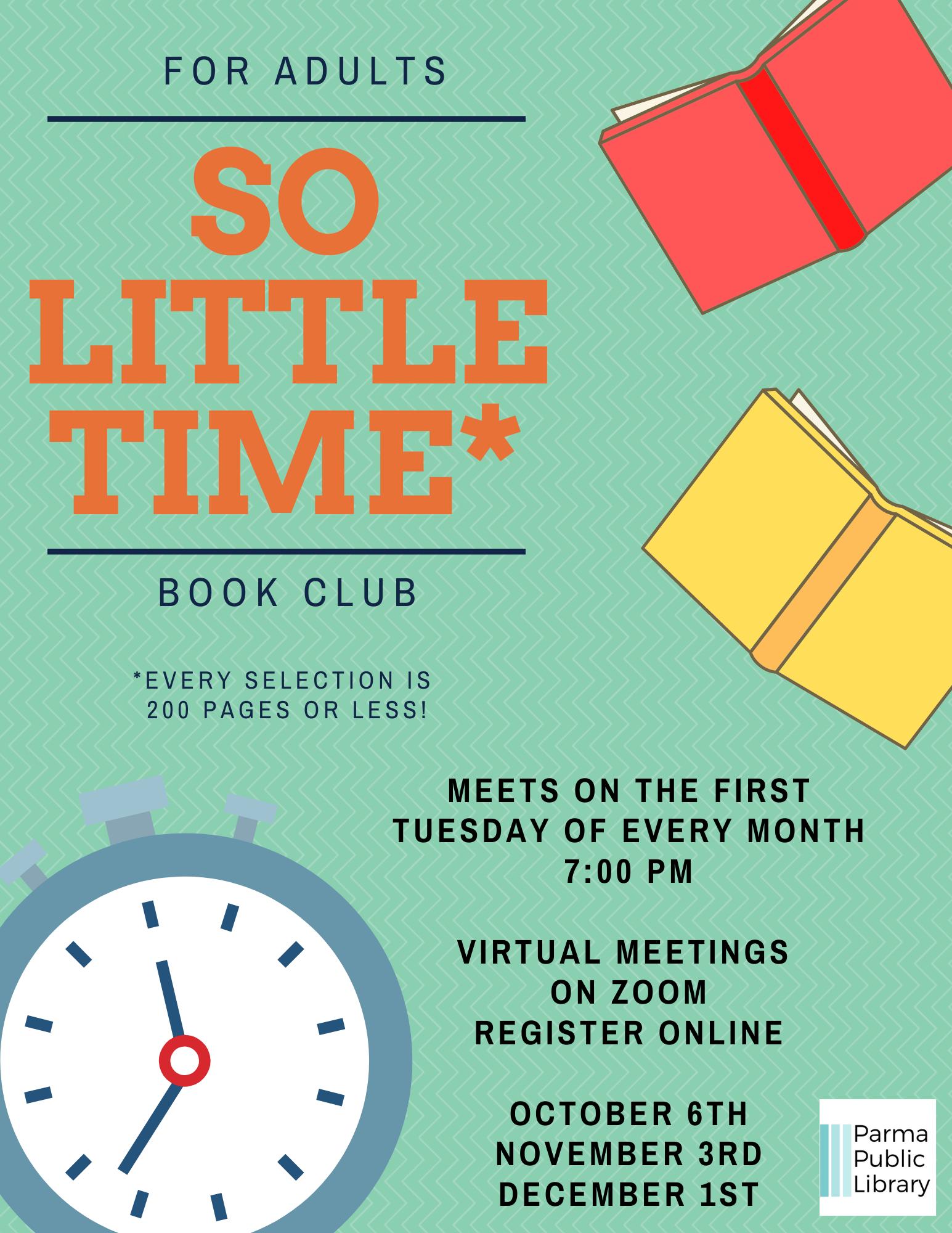 So Little Time Book Club- VIRTUAL