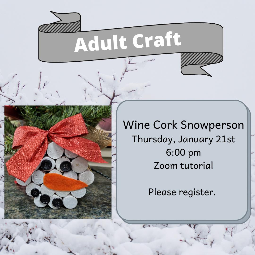 Adult Craft: Wine Cork Snowperson