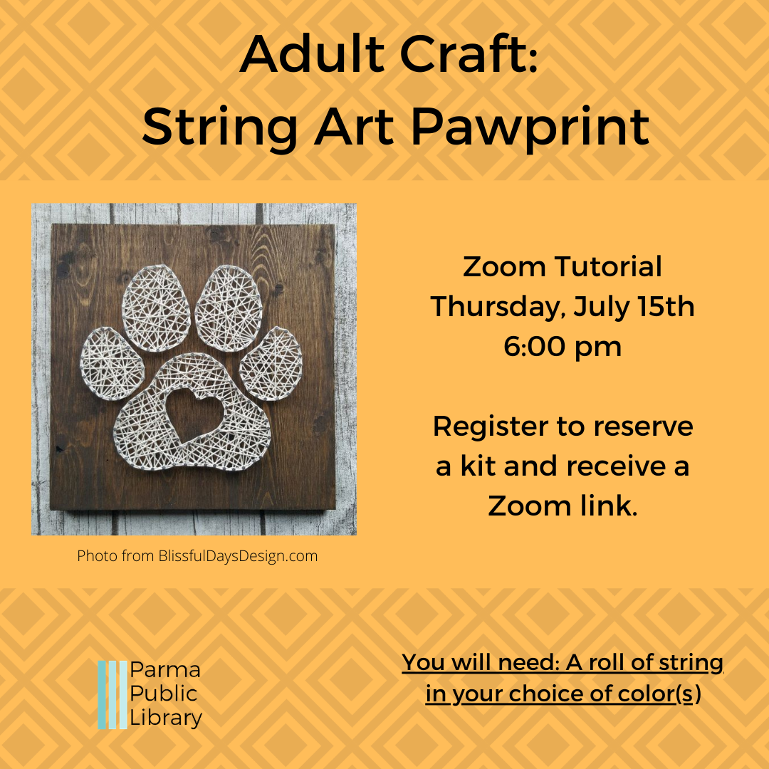 Adult Craft: Pawprint String Art - VIRTUAL