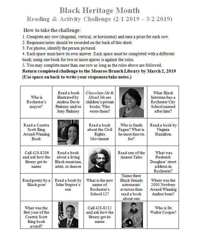 Black Heritage Month Reading & Activity Challenge