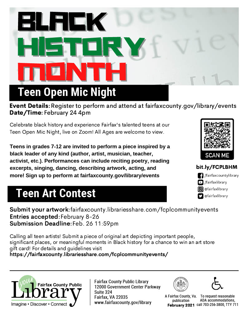 Black History Month Teen Art Contest
