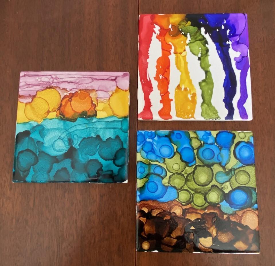 Saturday Crafterday:  Ink Tile Coasters