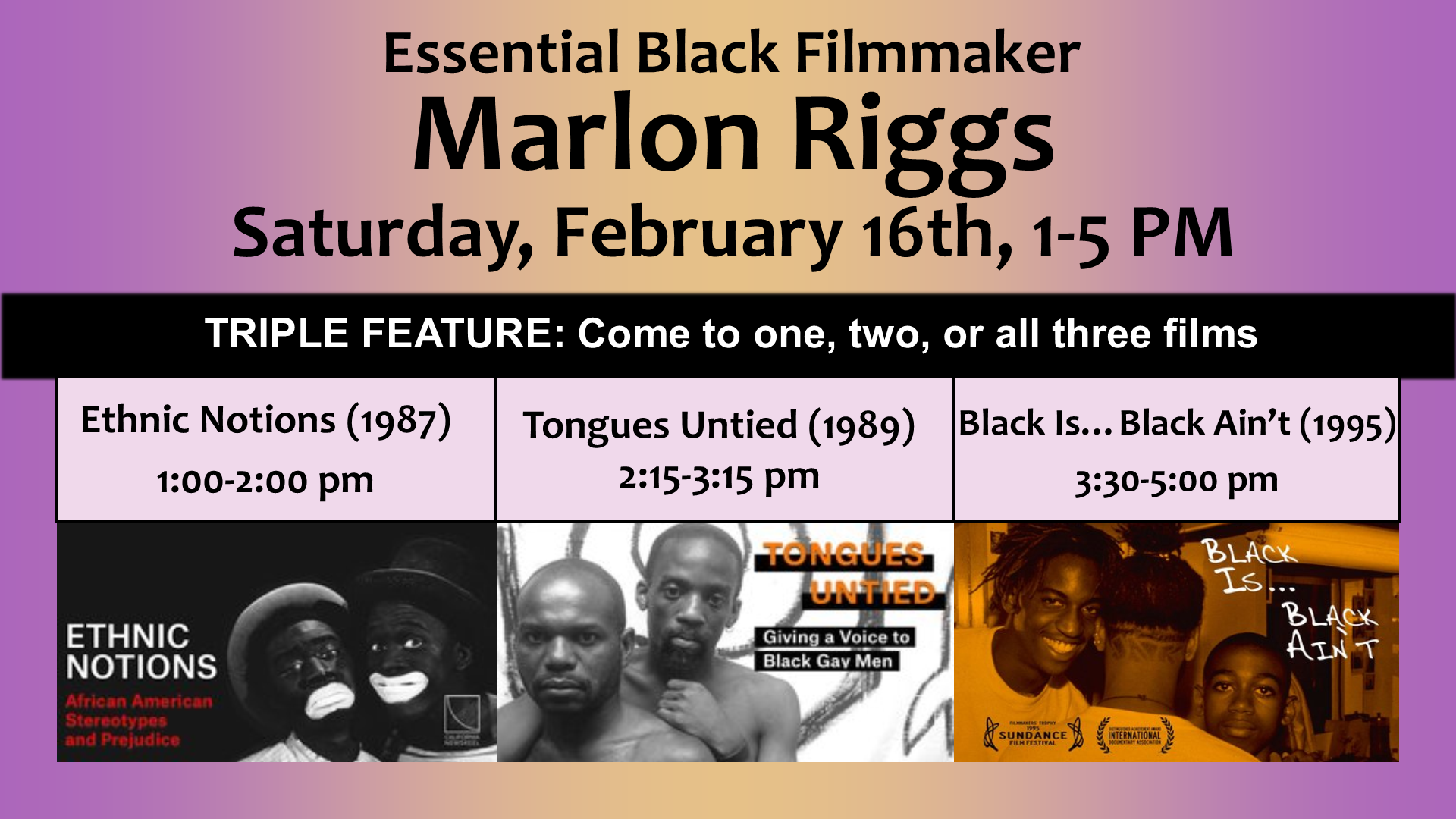 Essential Black Filmmaker Marlon Riggs: Triple Feature