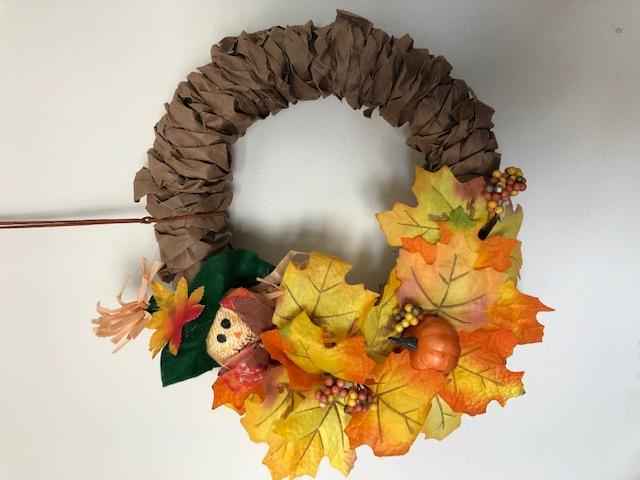 Virtual Craft   Paper Bag Fall Wreath