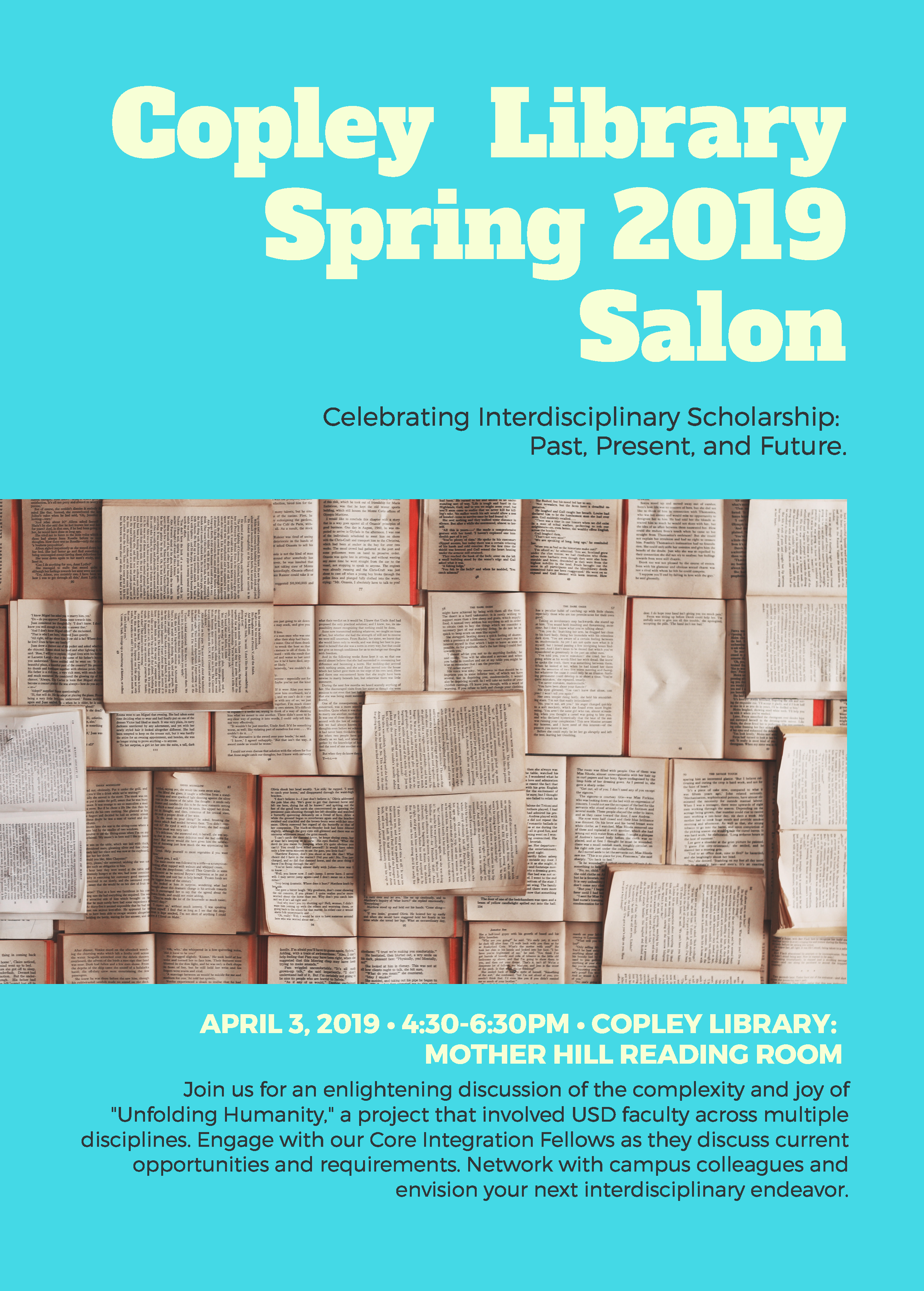 Copley Library Spring 2019 Salon: Celebrating Interdisciplinary Scholarship Past, Present, and Future