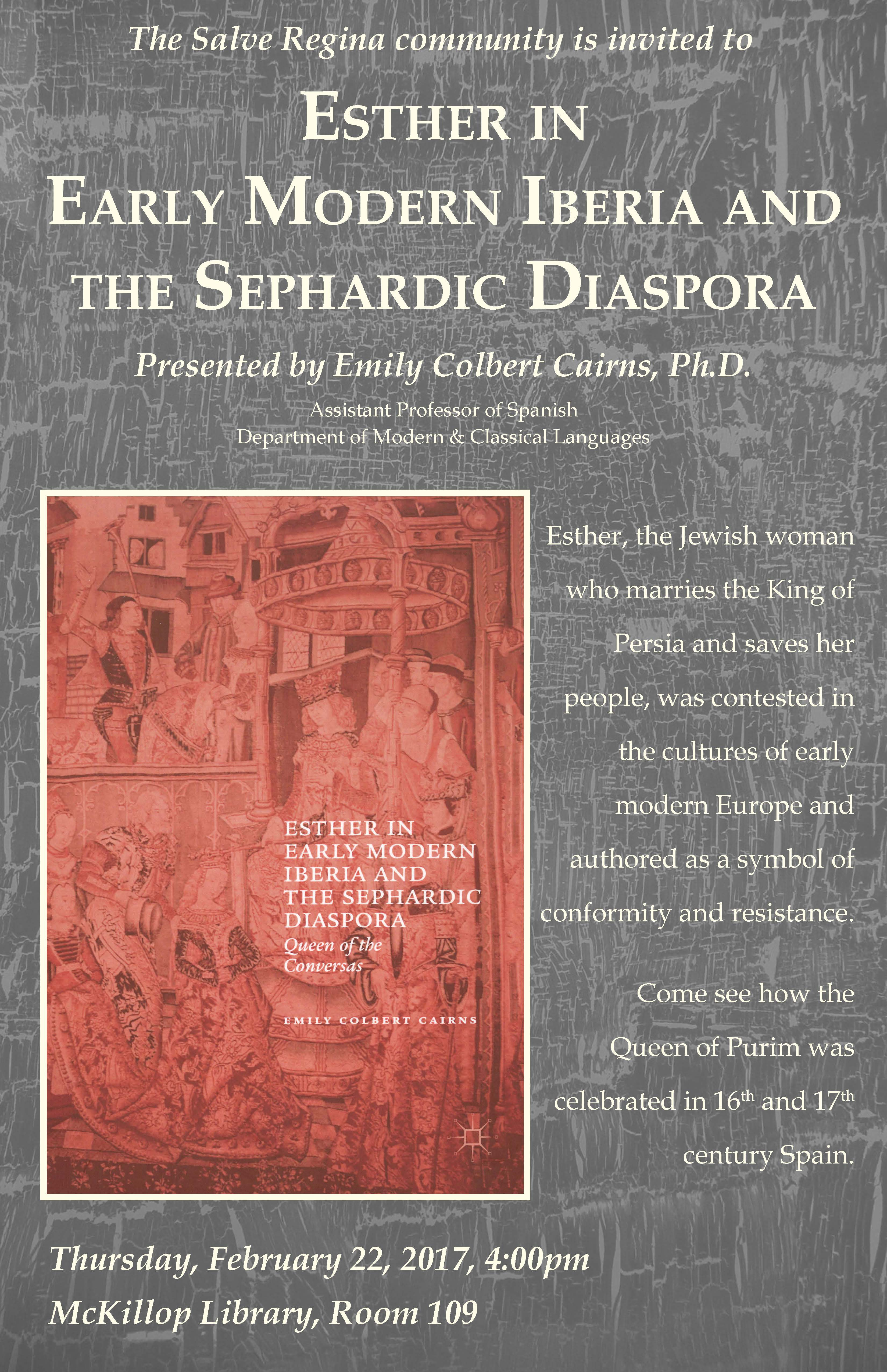 Faculty Lecture Series: Esther in Early Modern Iberia and the Sephardic Diaspora