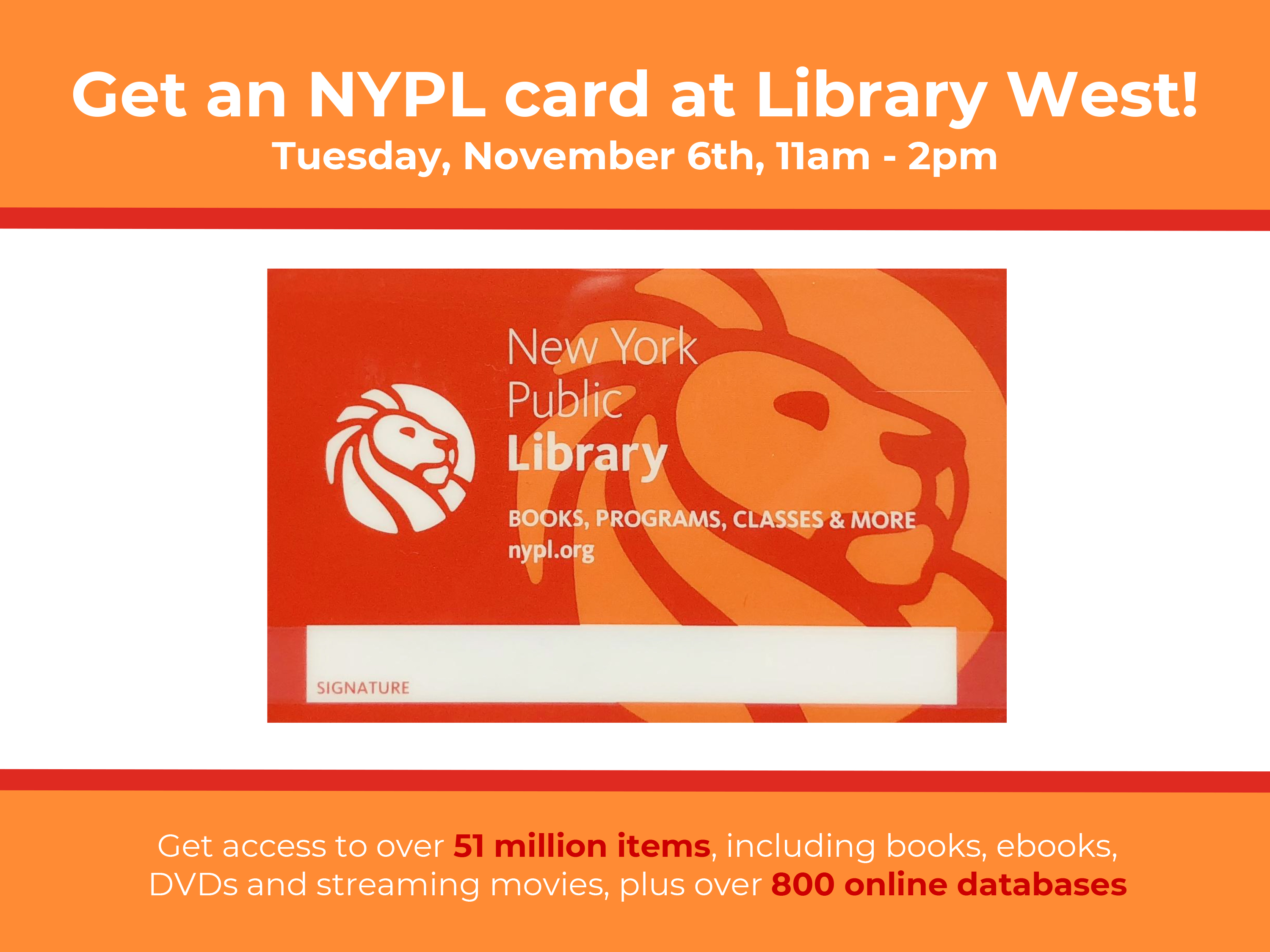 Get an NYPL Card at Library West
