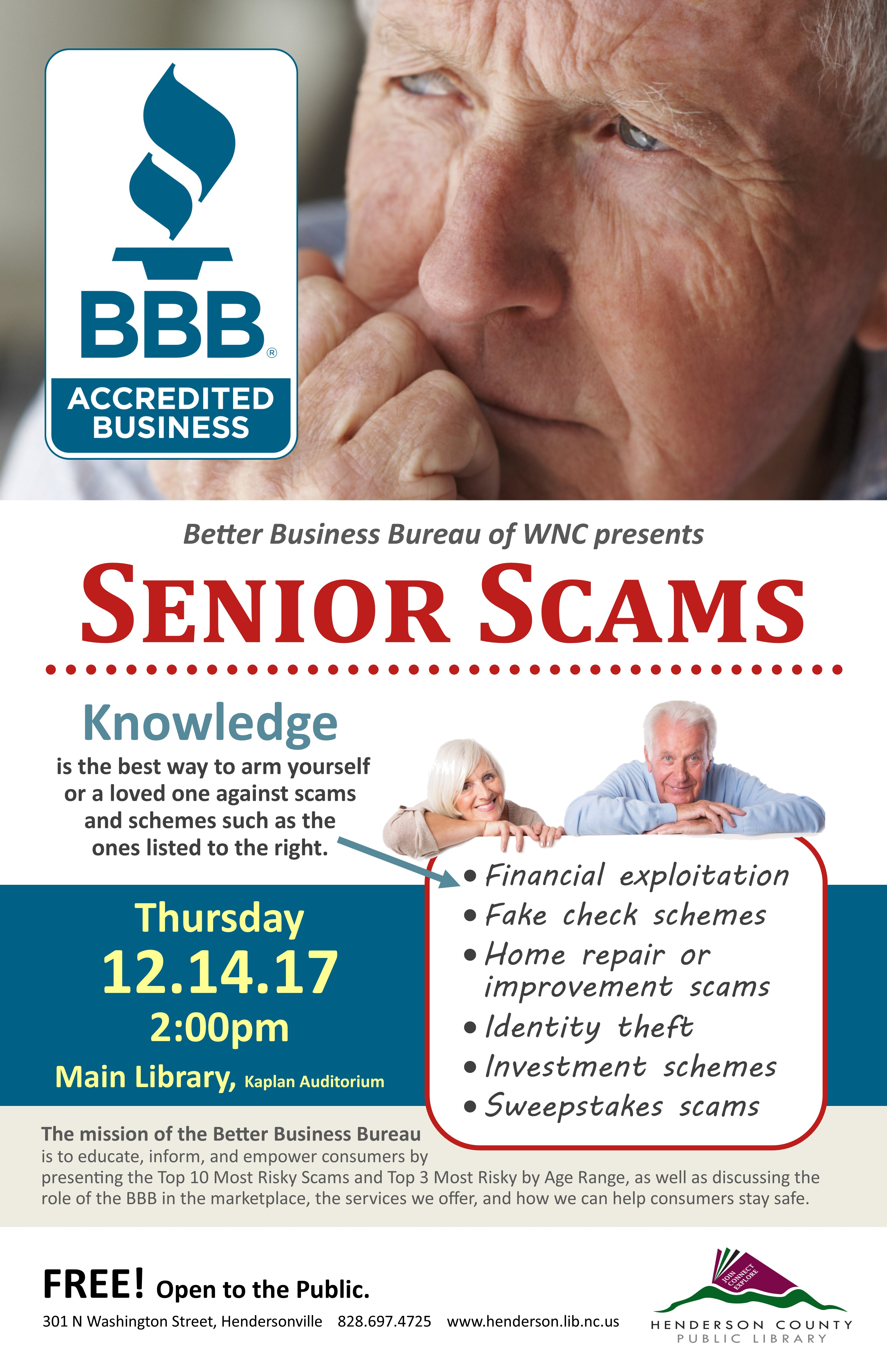 Better Business Bureau of Asheville and WNC Presents Senior Scams