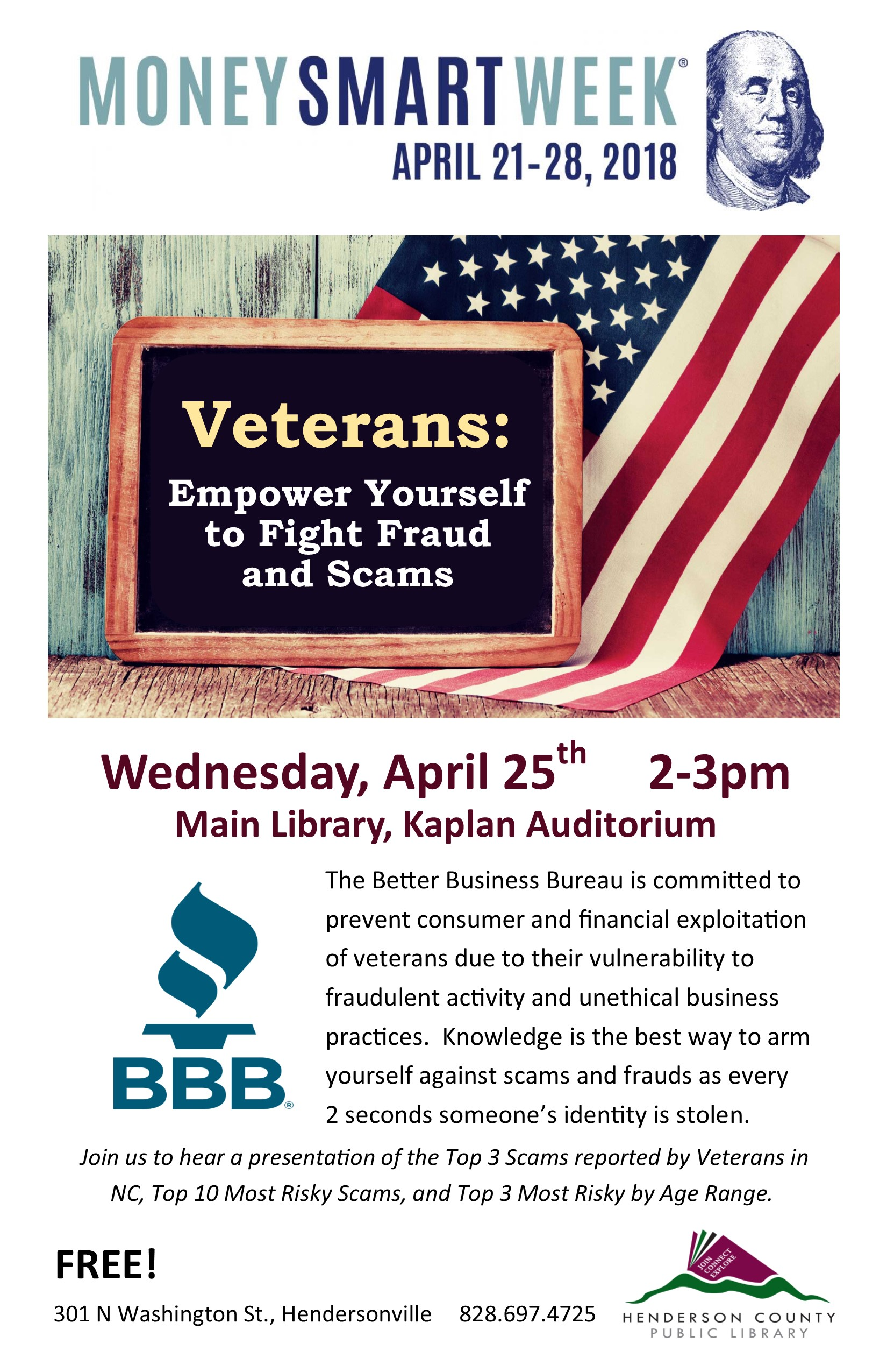 Veterans:  Empower Yourself to Fight Fraud and Scams- Money Smart Week