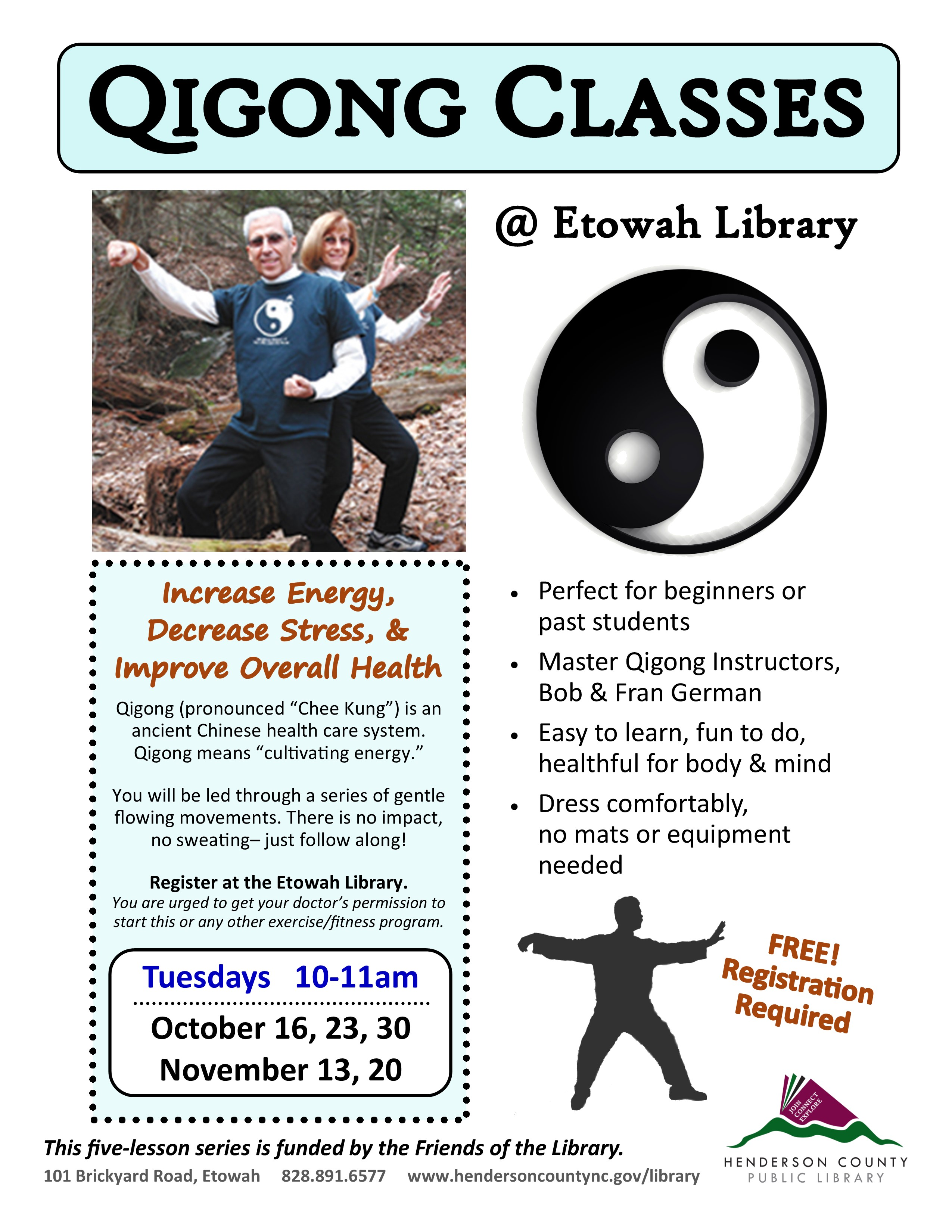 Qigong Classes at the Etowah Library