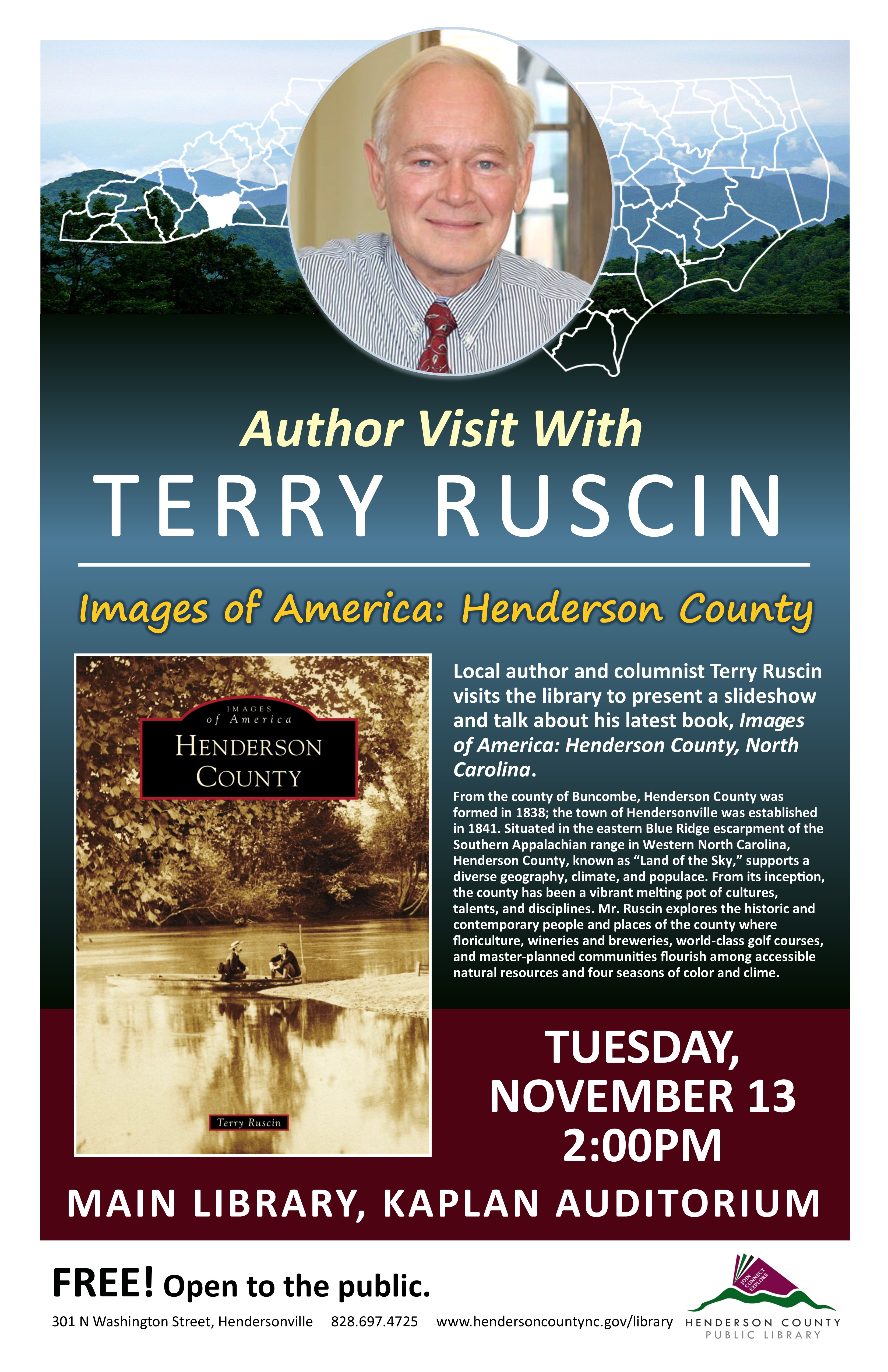"Author Visit with Terry Ruscin:  ""Images of America: Henderson County, North Carolina""."