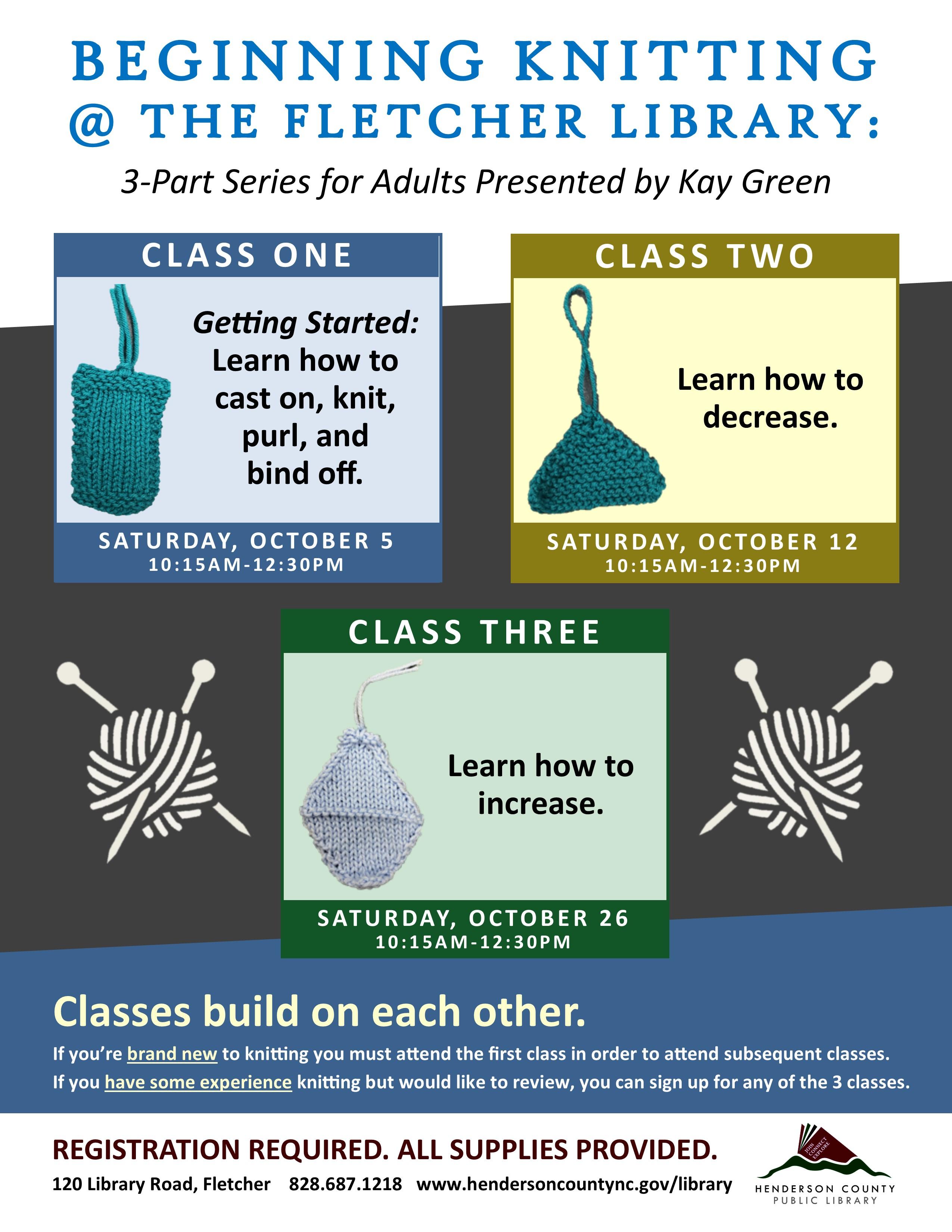Beginning Knitting: Class 2