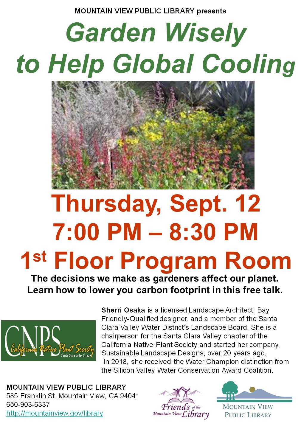 California Native Plant Society: Garden Wisely to Help Global Cooling