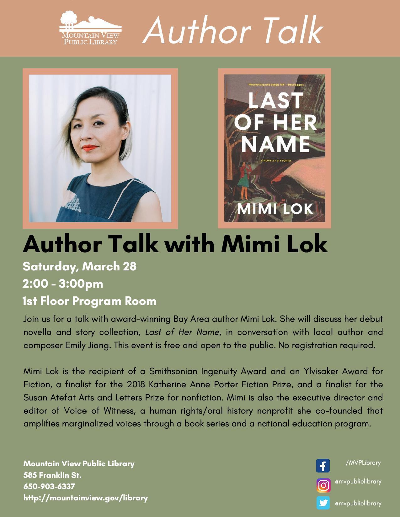 CANCELLED: Author Talk: Mimi Lok
