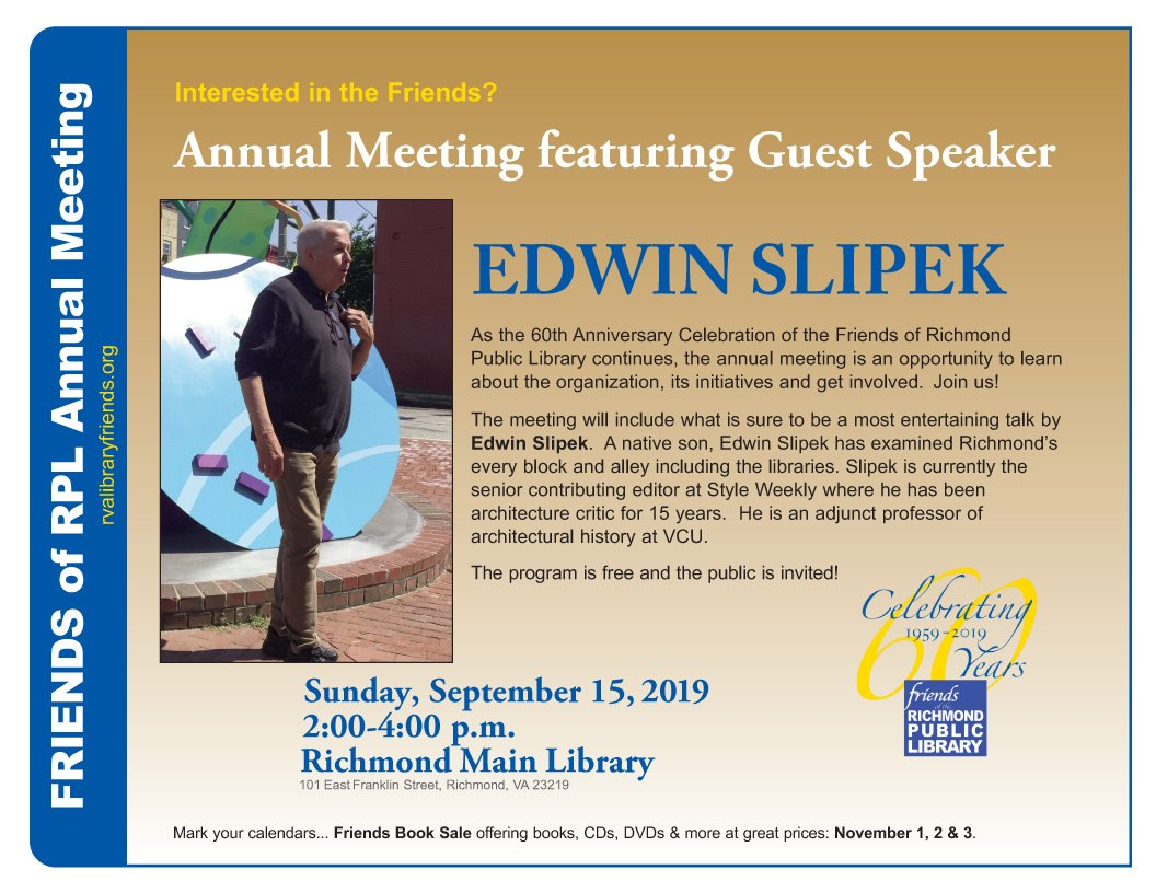Friends of the Library Annual Meeting featuring guest speaker, Edwin Slipek