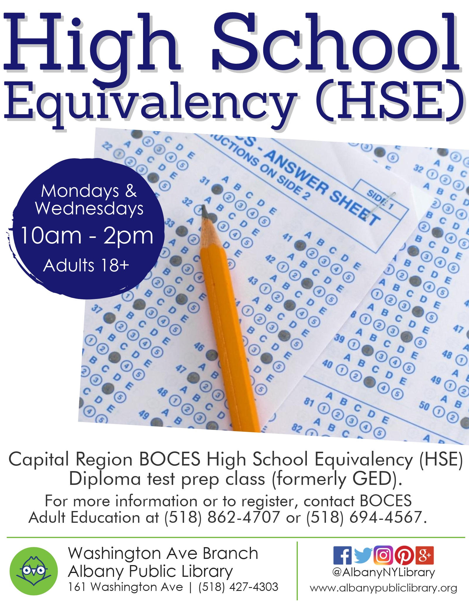 High School Equivalency (HSE) Diploma class-Capital Region BOCES