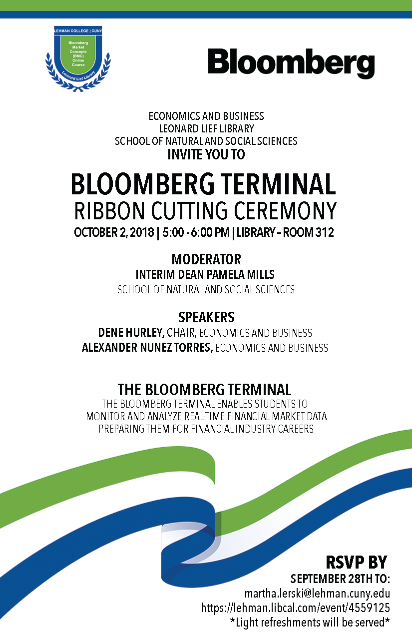 Bloomberg Terminal Ribbon Cutting Ceremony in the Library