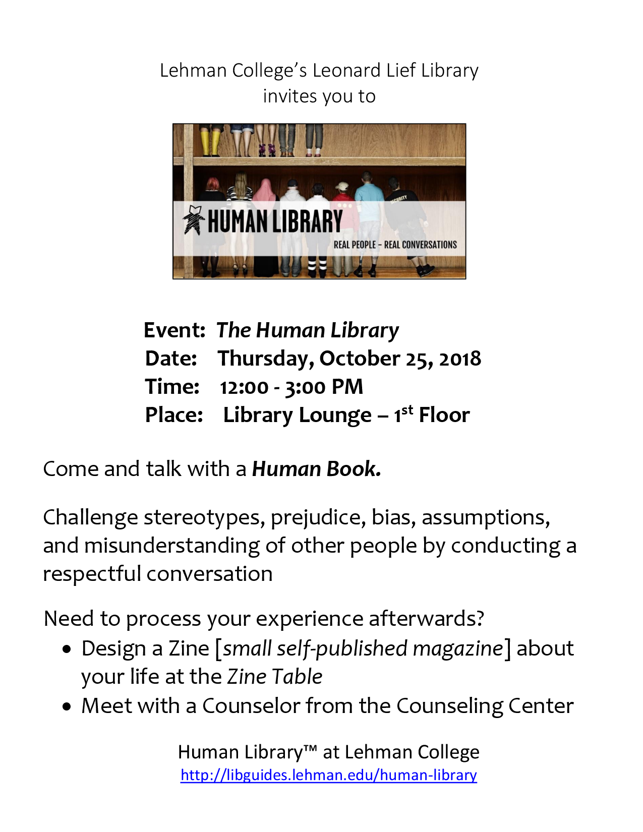 Human Library and Zine Event