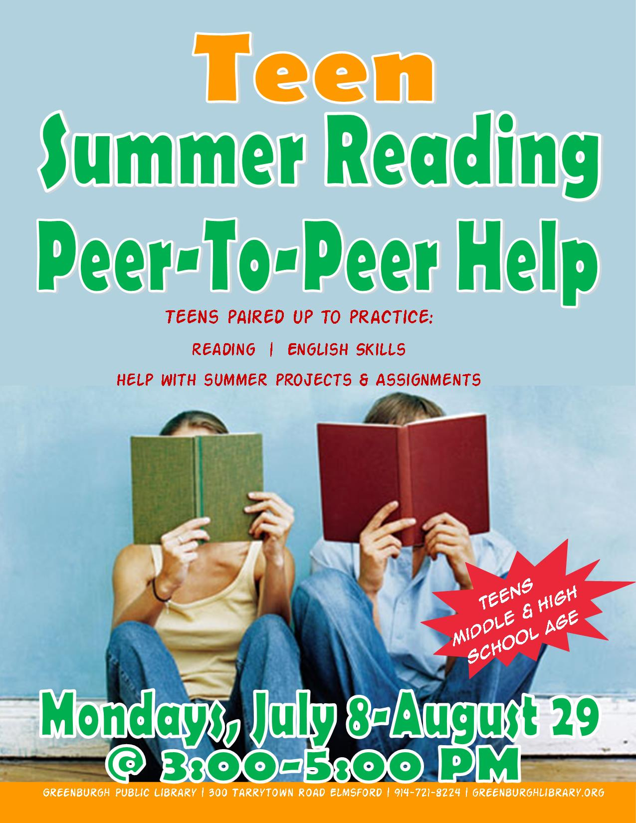 Teen Summer Reading Peer to Peer Help