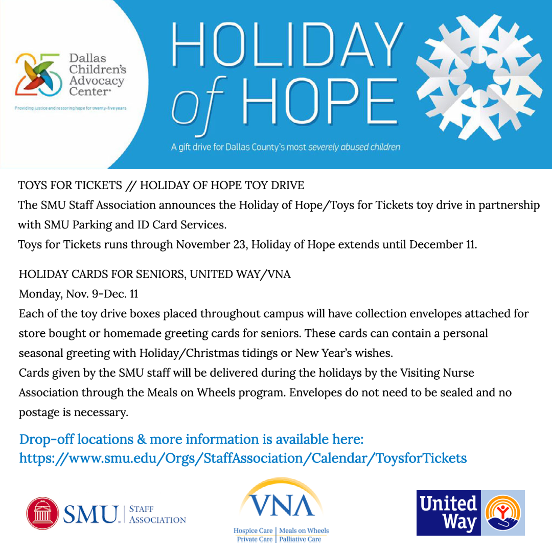 SMUSA Toys for Tickets, Holiday of Hope Toy Drive, Cards for Seniors