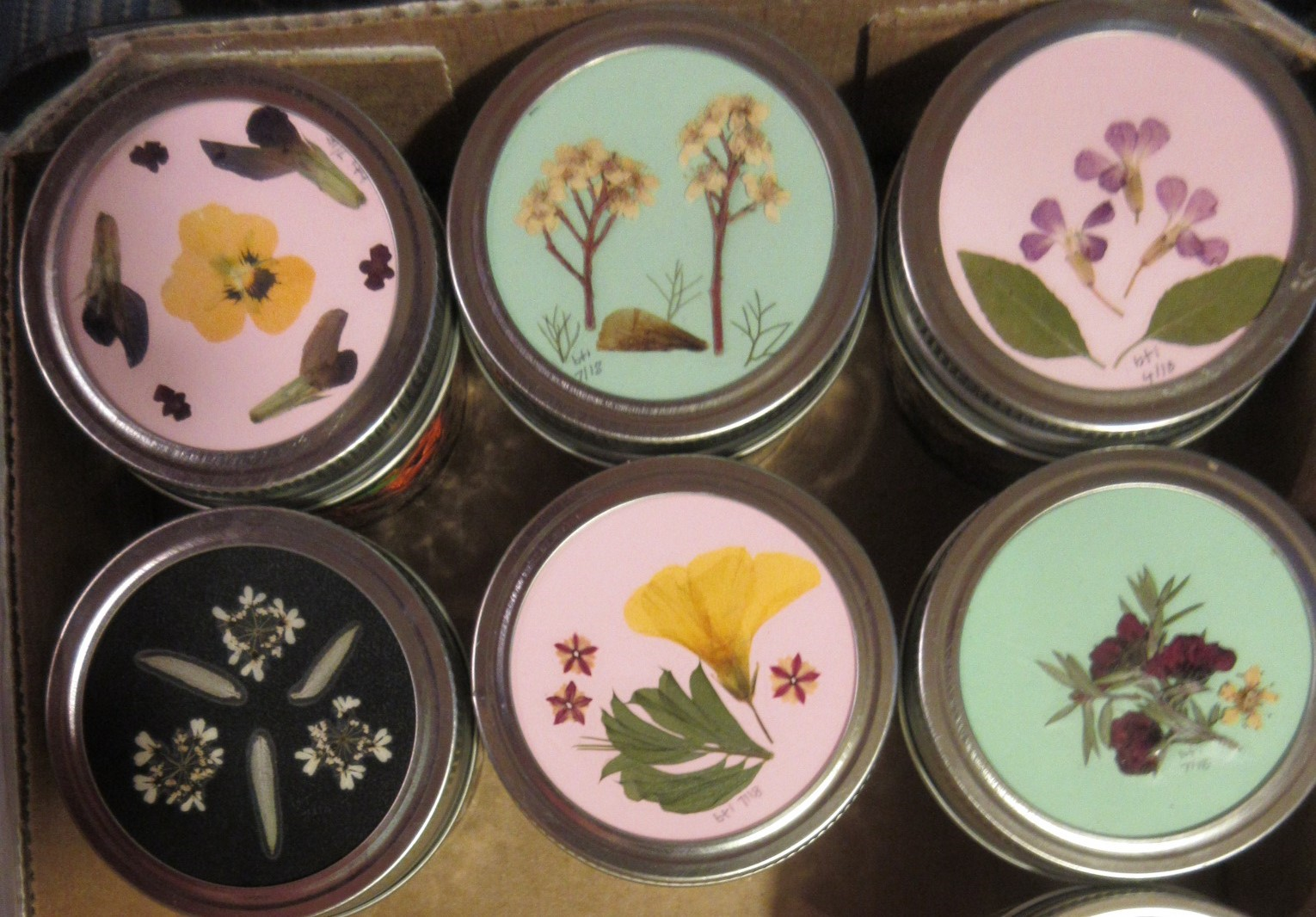 Pressed Flower Mason Jars for Adults