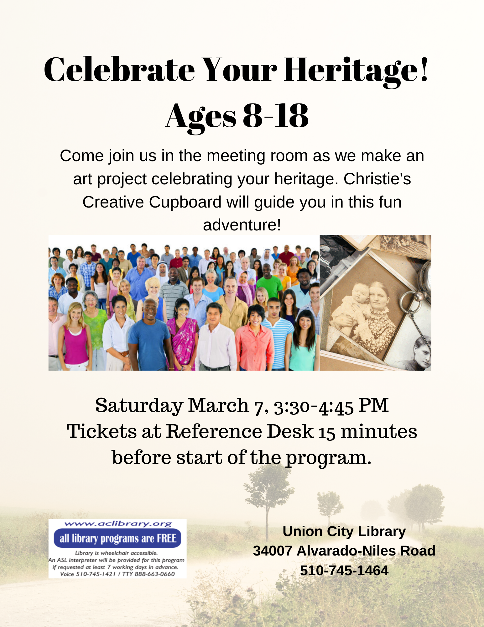 Celebrate Your Heritage:  Art Program for 8-18 year olds