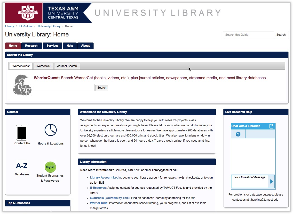 Texas A&M University - Using LibGuides CMS as our Website