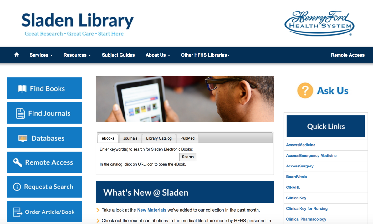 Henry Ford Hospital: Using LibGuides CMS to Create a Library Website