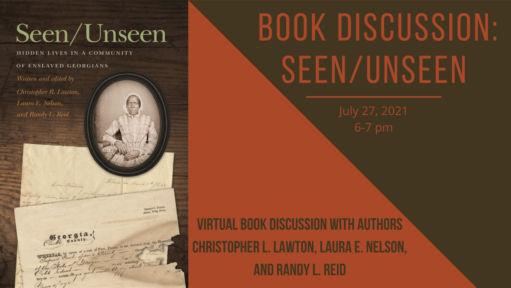 Virtual Book Discussion Seen/Unseen: Hidden Lives in a Community of Enslaved Georgians