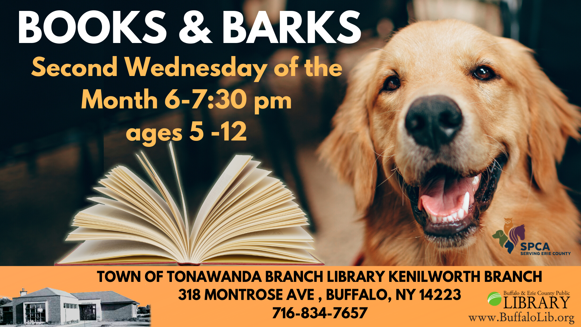 Books & Barks: Ages 5-12 read to a therapy dog