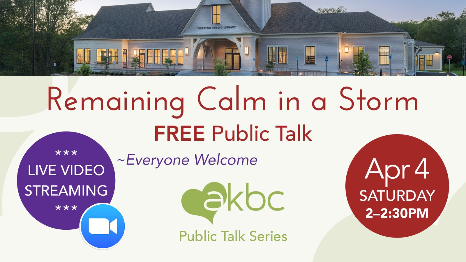 VIRTUAL PROGRAM: Remaining Calm in a Storm: Overcoming Stress with Meditation