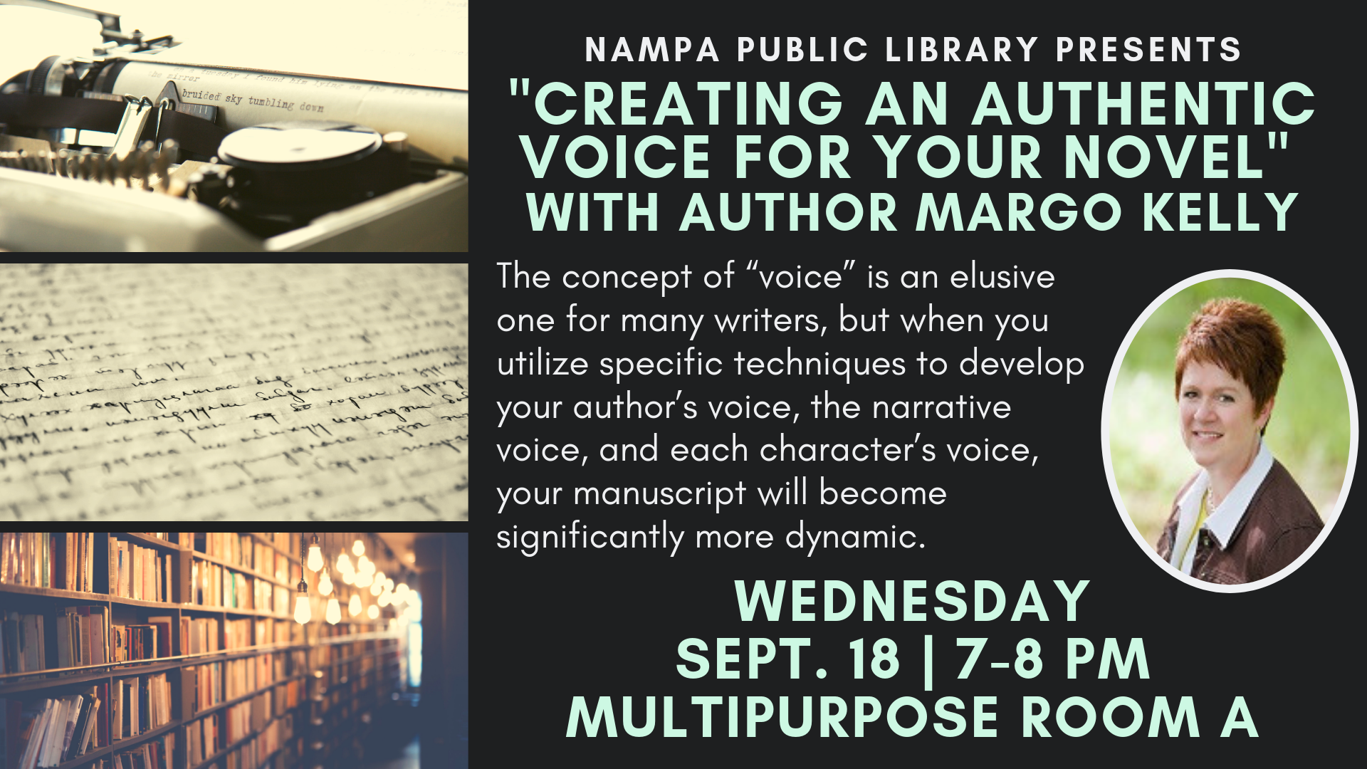 """Creating an Authentic Voice for Your Novel"" with Margo Kelly"