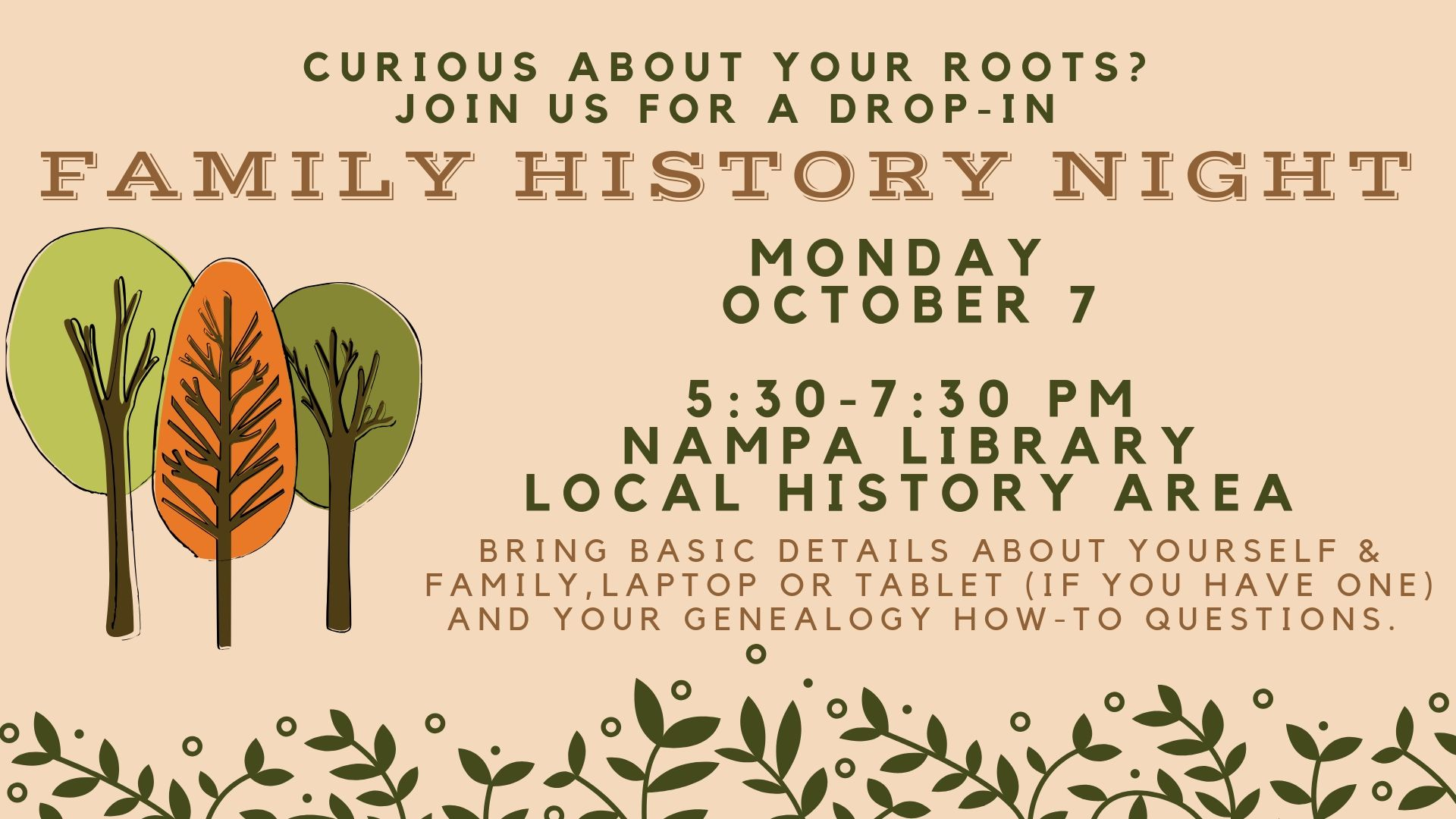 Family History Night (Drop-In Session)