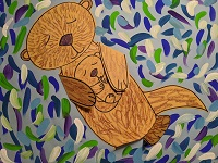 Sea Otters on Water - Virtual art for kids, grades K-5