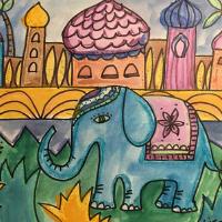 Elephant Garden Illustration - Art for Kids
