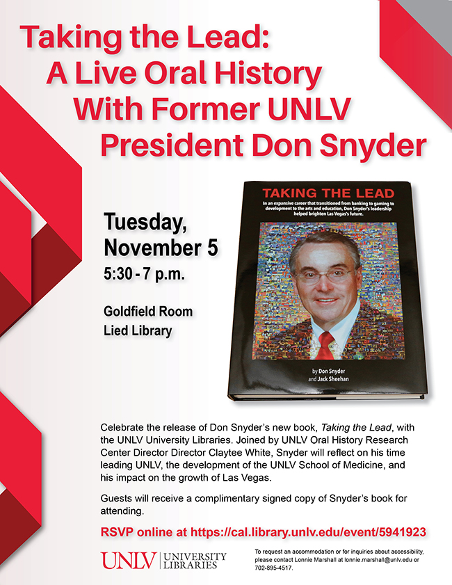 Taking The Lead: A Live Oral History With Former UNLV President Don Snyder