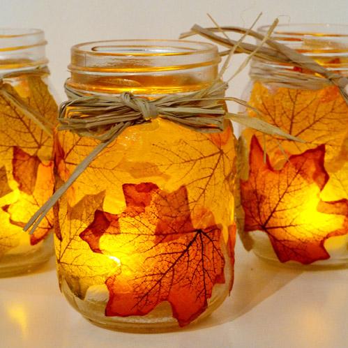DIY Mason jar fall luminaria