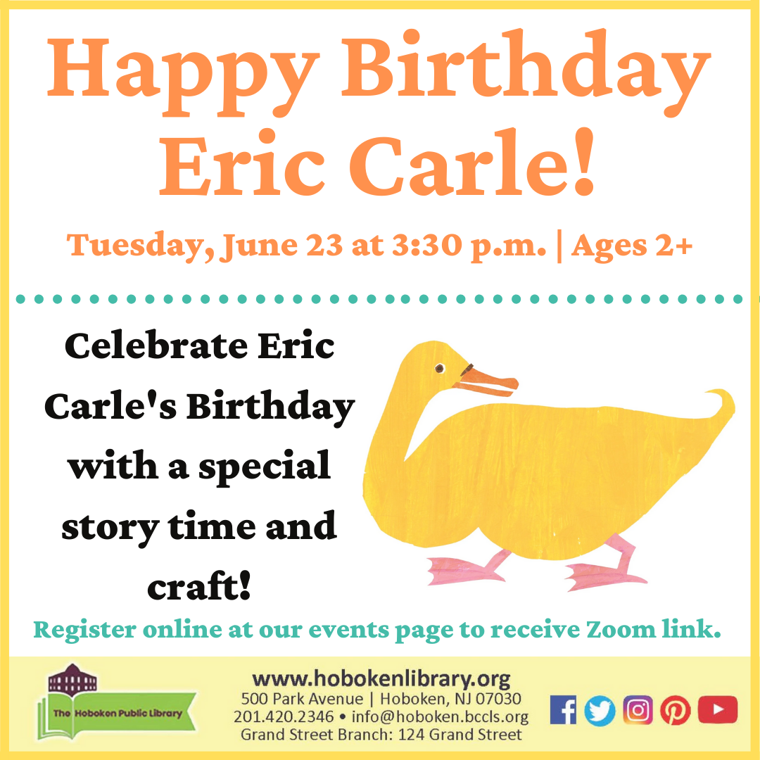 Eric Carle Story Time and Craft: Live on Zoom