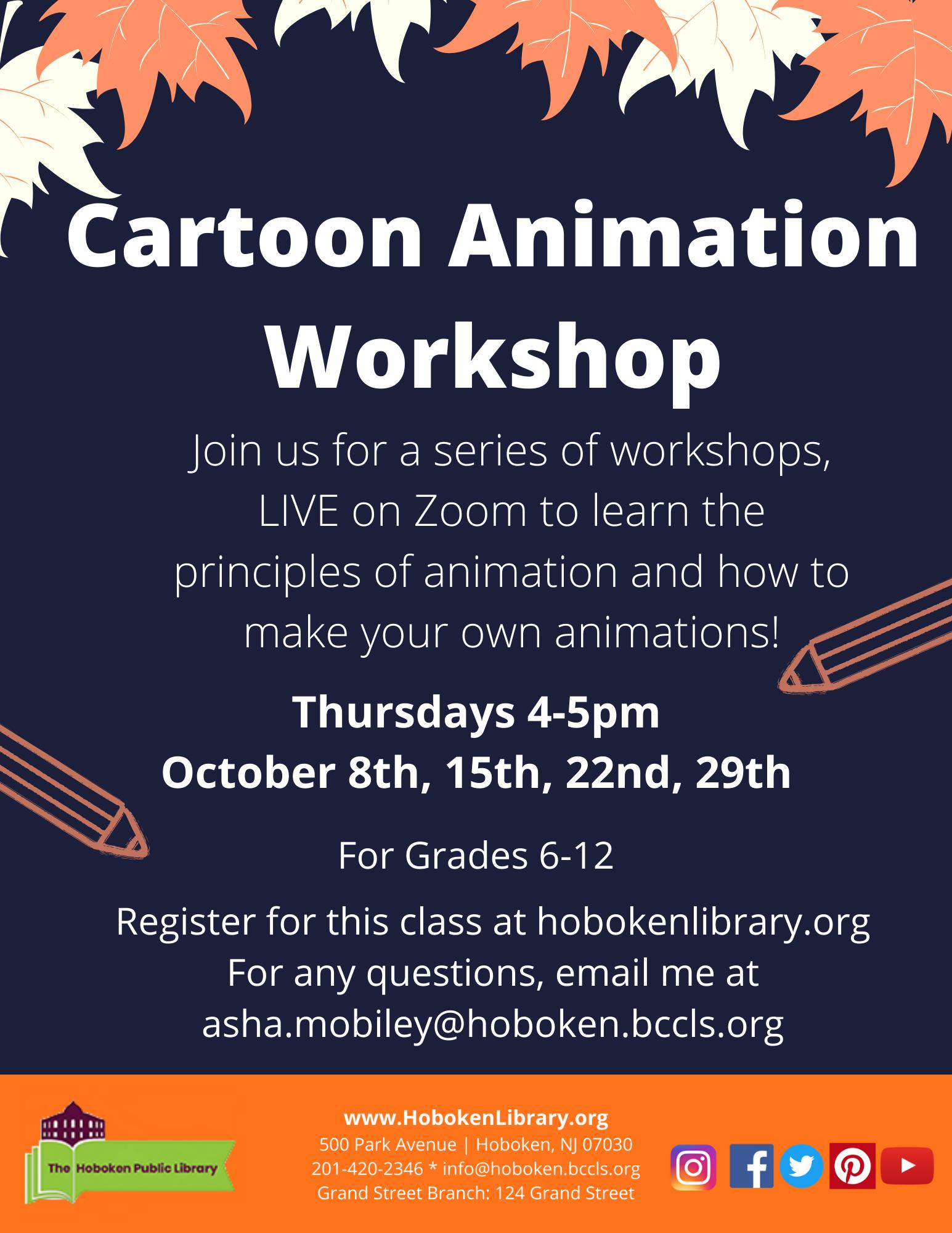 Cartoon Animation Workshop for Teens: LIVE on Zoom!