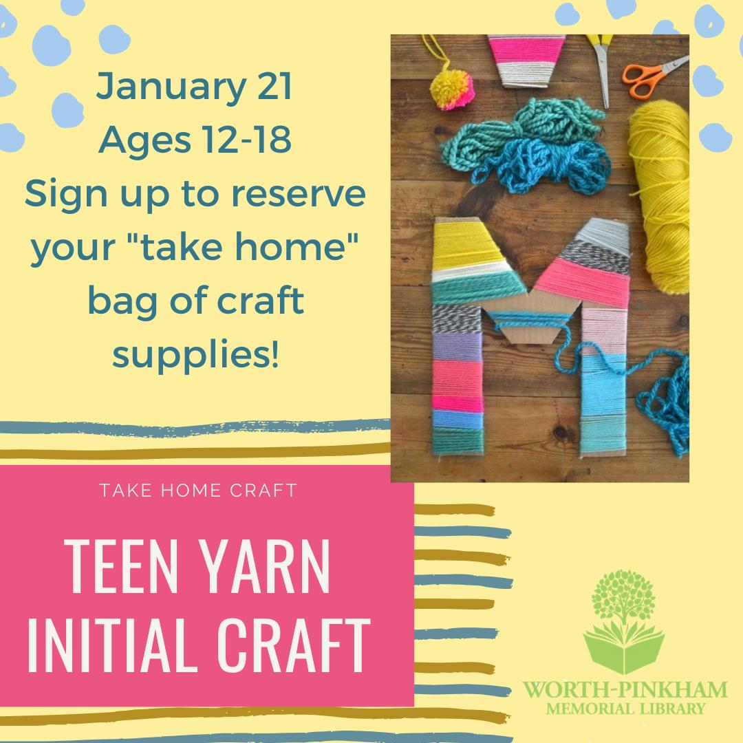 TAKE HOME TEEN Yarn Initial Craft