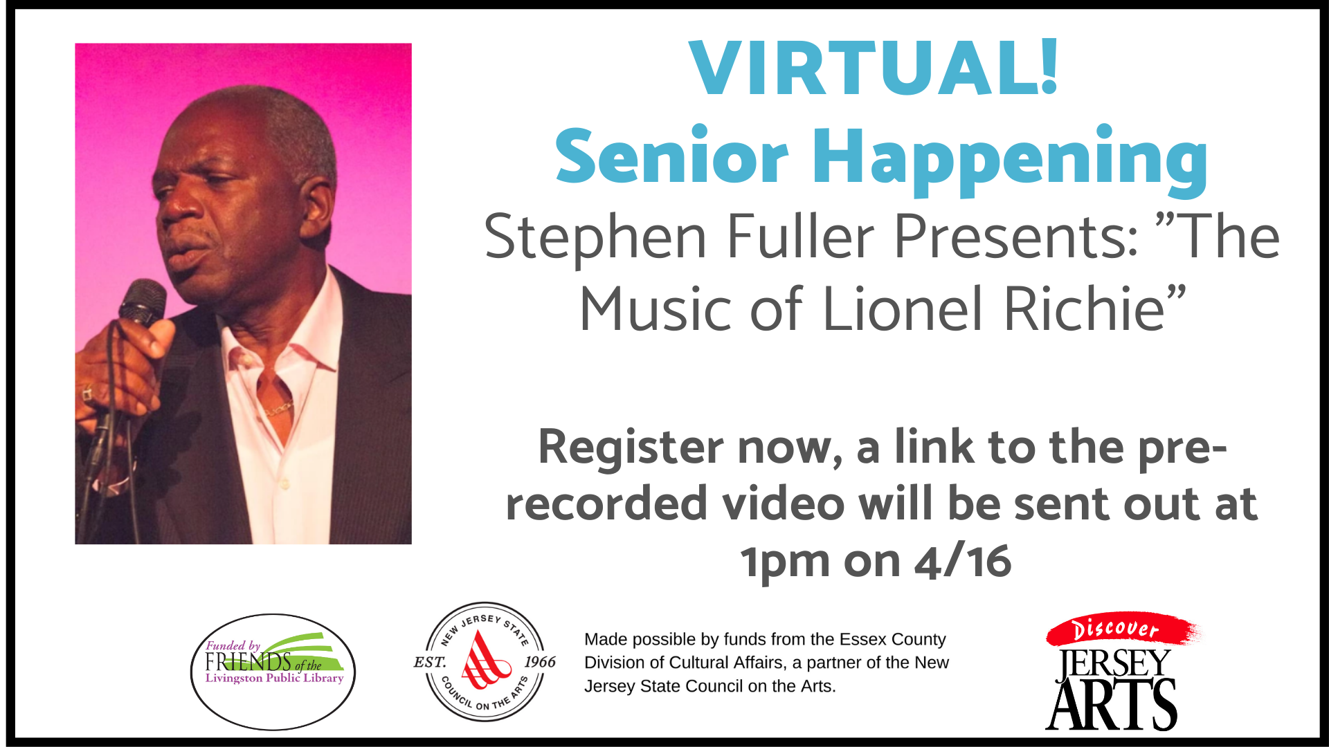 """VIRTUAL Stephen Fuller Presents """"The Music of Lionel Richie"""""""
