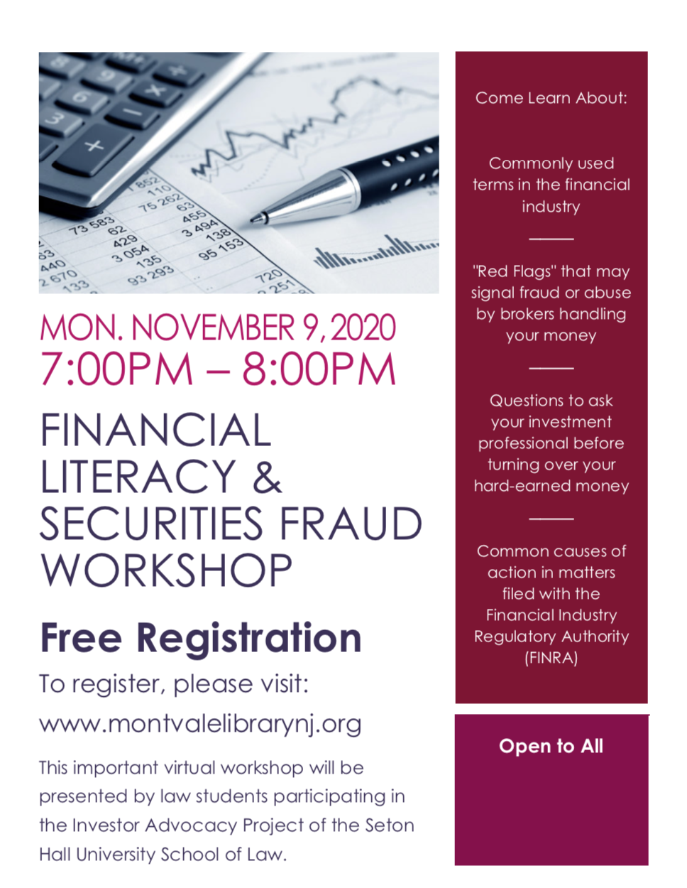 Financial Literacy & Securities Fraud Workshop