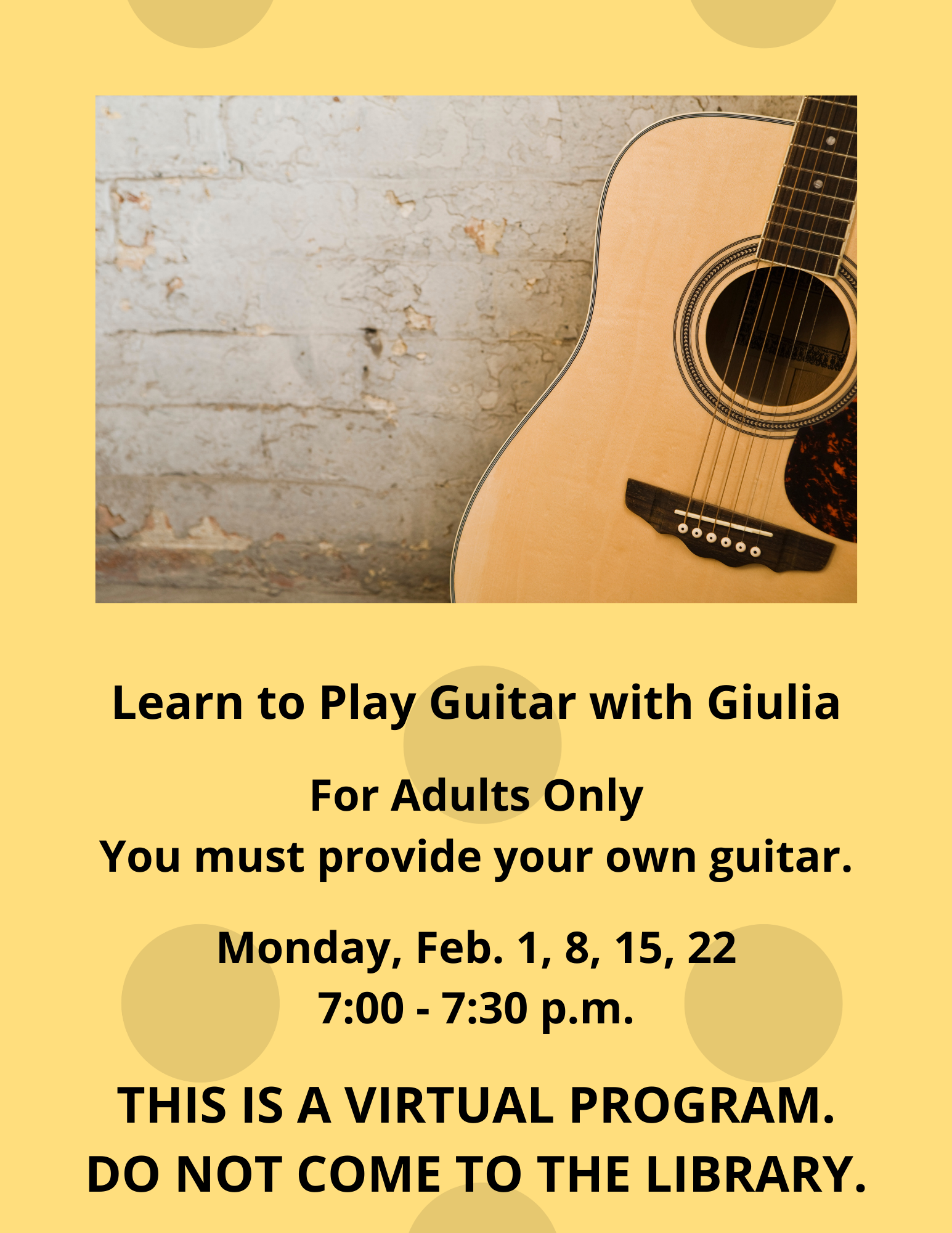 Learn to Play Guitar with Giulia (February 1, 8, 15, 22)