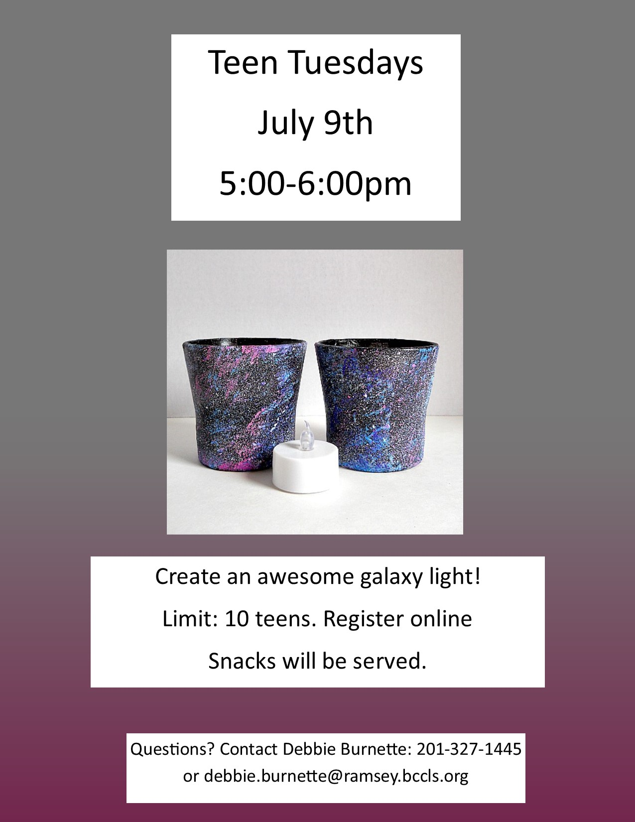 Awesome galaxy lights on Teen Tuesday!