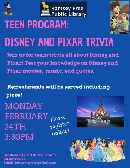 Teen Disney and Pixar Trivia