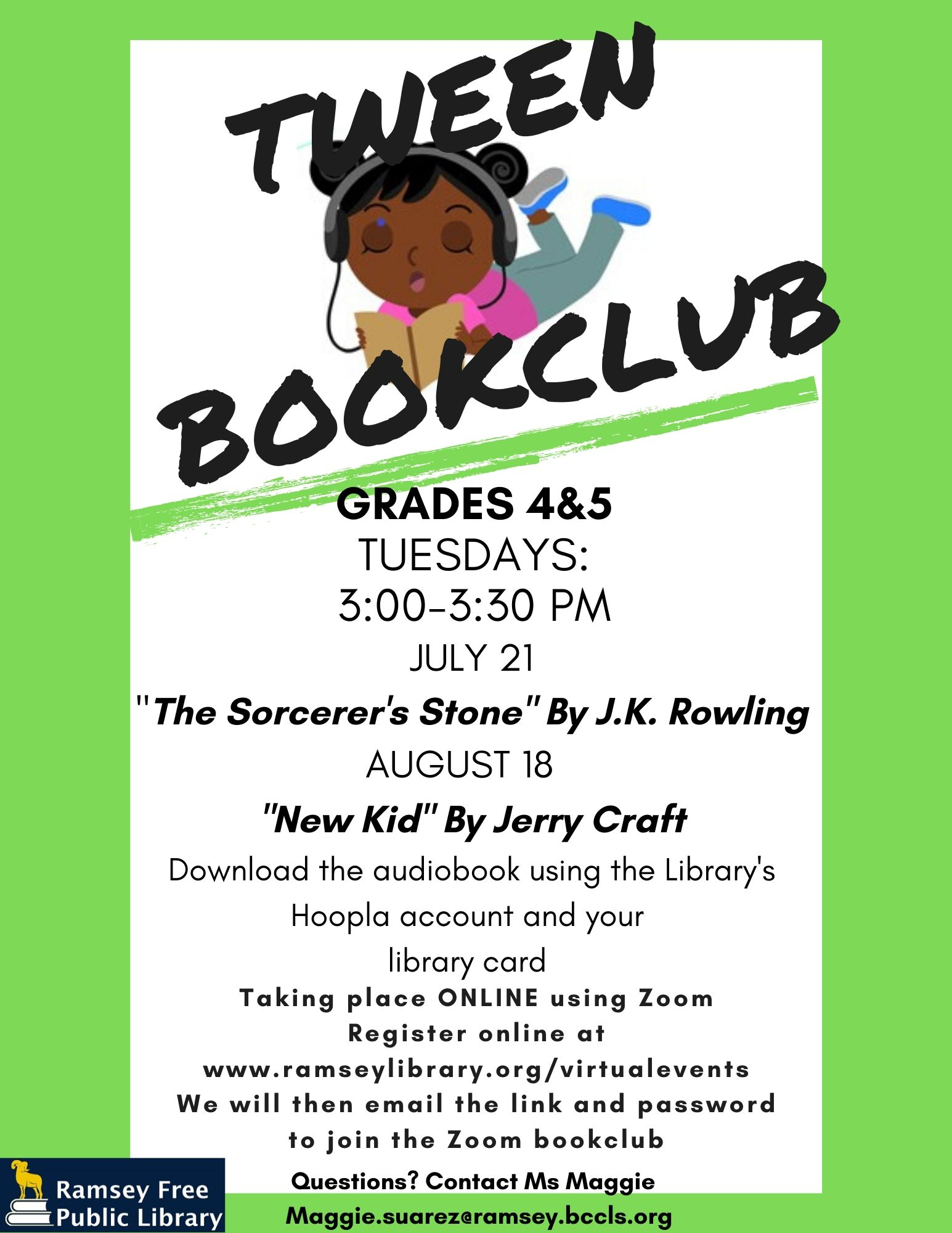 Zoom Tween Book Club