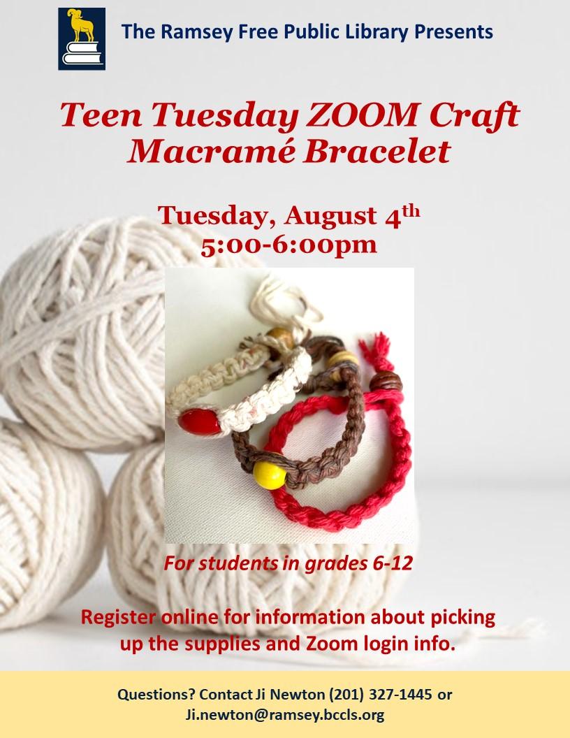 Teen Tuesday Craft Macrame Bracelet