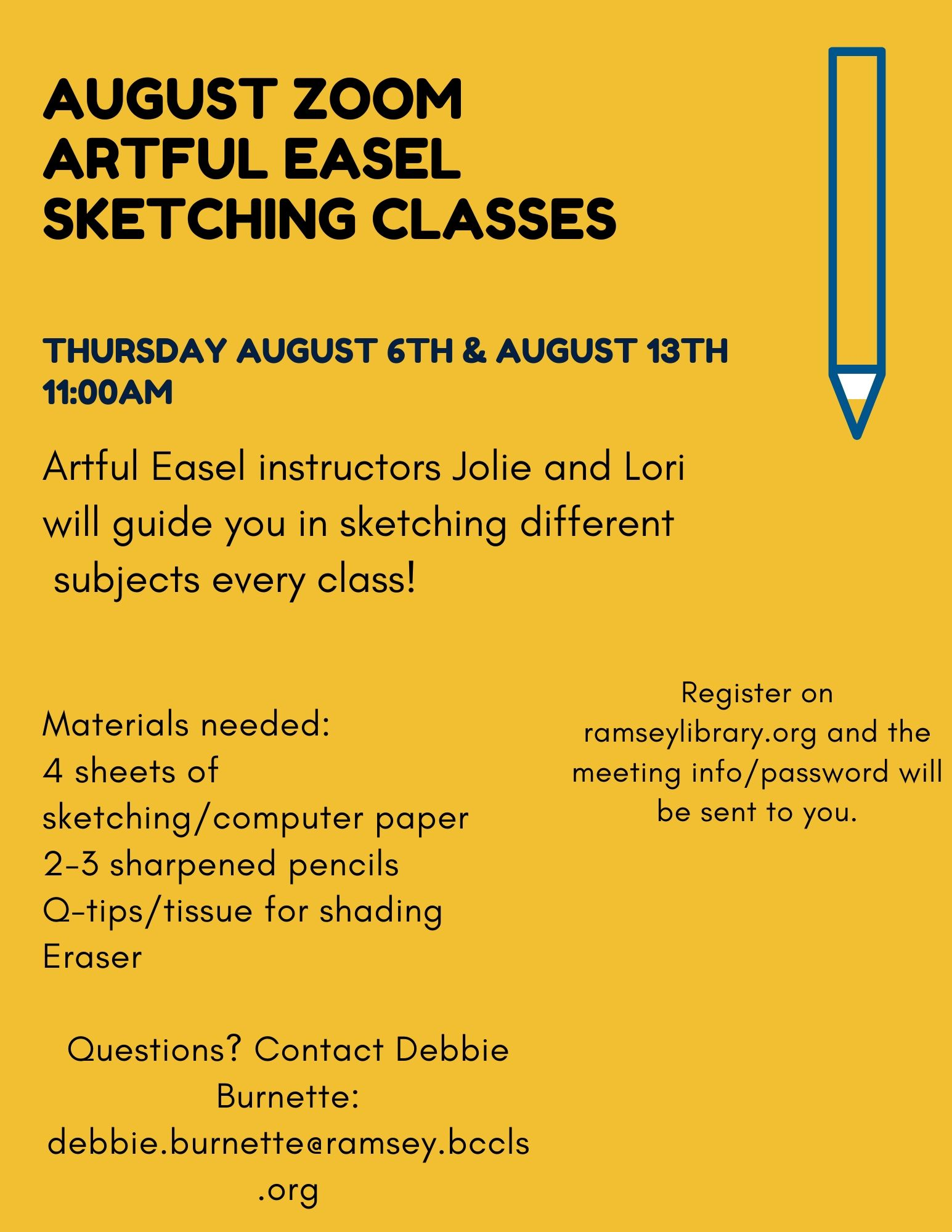 ZOOM Artful Easel Sketching class