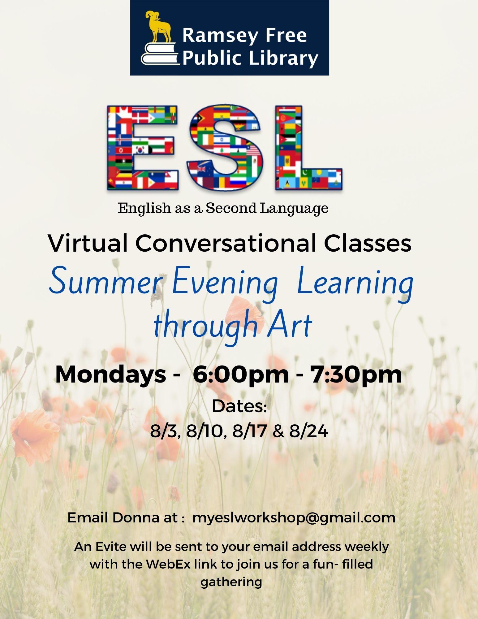 Virtual ESL Conversational Classes