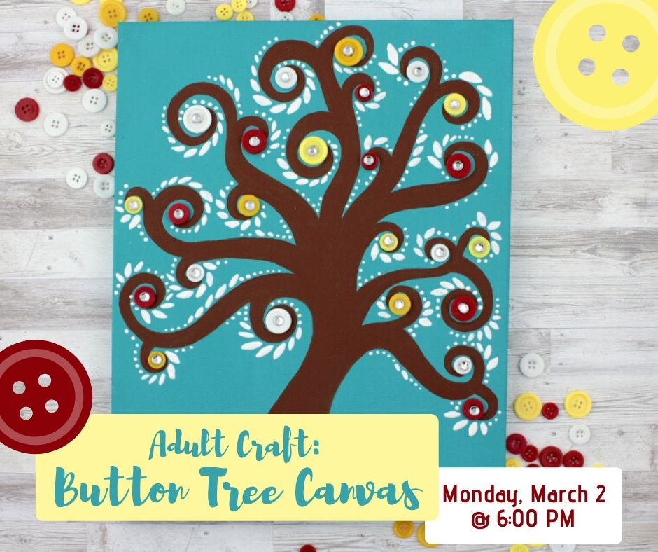 Adult Craft: Button Tree Canvas